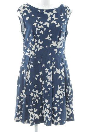 Closet Kurzarmkleid dunkelblau-creme abstraktes Muster Elegant