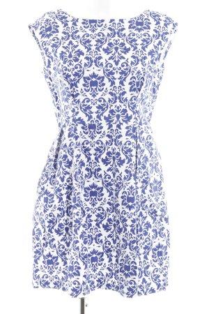 Closet Kurzarmkleid wollweiß-dunkelblau florales Muster Casual-Look