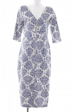 Closet Langarmkleid weiß-blau Allover-Druck Elegant