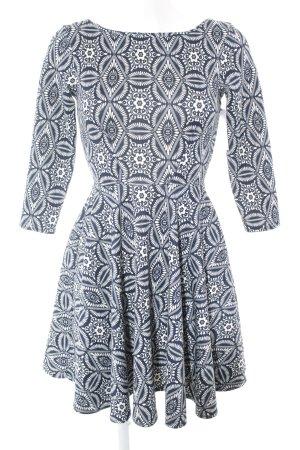 Closet Langarmkleid weiß-dunkelblau abstraktes Muster Casual-Look