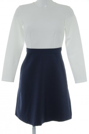 Closet Langarmkleid wollweiß-dunkelblau klassischer Stil