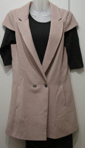 Closet London Longweste Gilet Gr. 38 S/M nude rosa Lagenlook Vintage Shabby Chic
