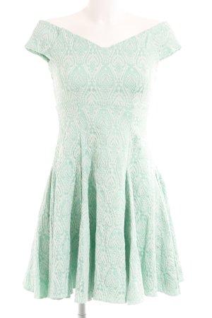 Closet schulterfreies Kleid mint-weiß Ornamentenmuster Elegant