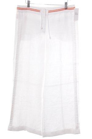 Clothcraft Stoffhose weiß-hellorange Streifenmuster Casual-Look