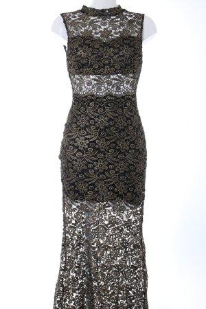 Club L Abendkleid schwarz-braun Blumenmuster Elegant