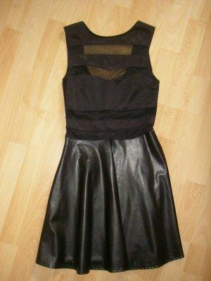 CLUB L - Extravagantes sexy Kleid Kunstleder teilweise transparent 34 - wie neu