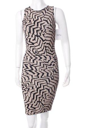 Club L Jerseykleid schwarz-beige Allover-Druck