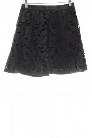 Club Monaco Faux Leather Skirt black flower pattern party style