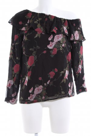 Club Monaco One Shoulder Shirt black-red flower pattern business style