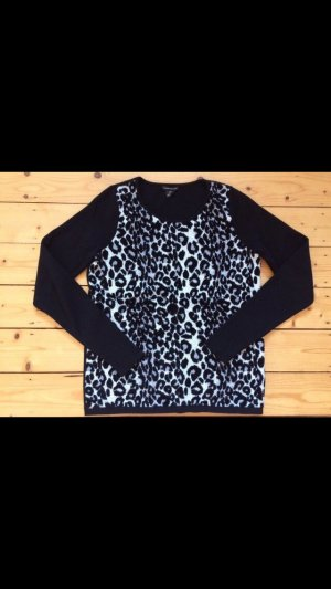 Club Monaco Pullover Strick Wolle Leopard Leoprint Animal schwarz grau Gr. S 36