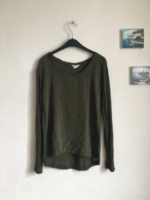 Club Monaco Seidenshirt Bluse Tunika Top khaki grün XS 34 36