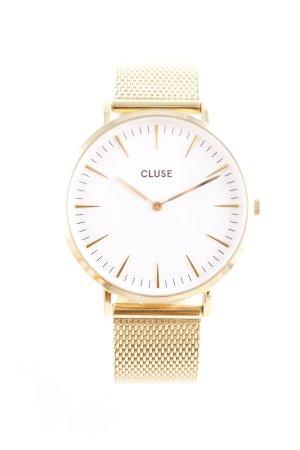 Cluse Analoguhr goldfarben-weiß schlichter Stil
