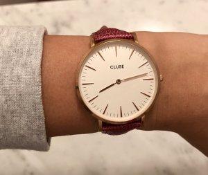 Cluse Armband Uhrenarmband Fuchsia 18mm Eidechse Top wie neu