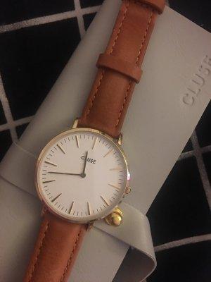 Cluse Horloge met lederen riempje veelkleurig