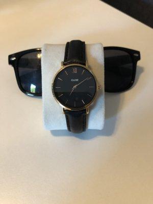 Cluse Reloj con pulsera de cuero negro-color rosa dorado