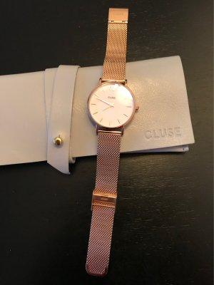 Cluse Armbanduhr Gold Metall Minuit Mesh Gold/White