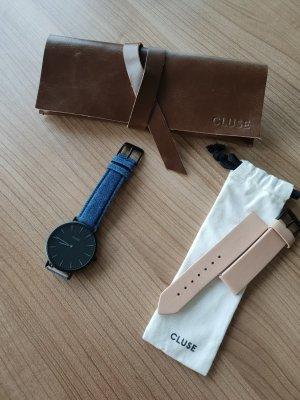 Cluse Armbanduhr mit Wechselarmband und Ledertasche