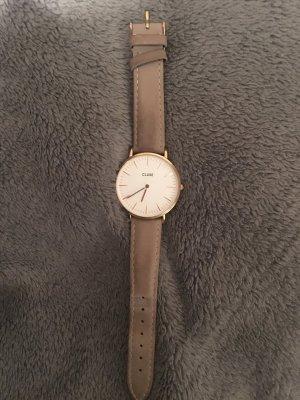 Cluse Montre avec bracelet en cuir gris brun