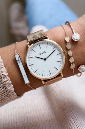 Cluse Rose Gold Uhr mit Metallmesharmband