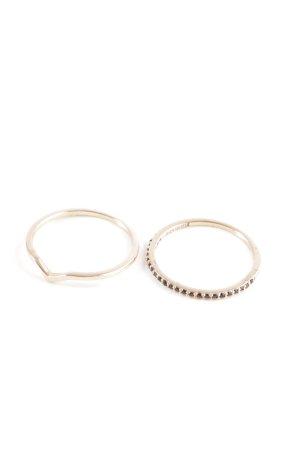 Cluse Zilveren ring roségoud-zwart simpele stijl