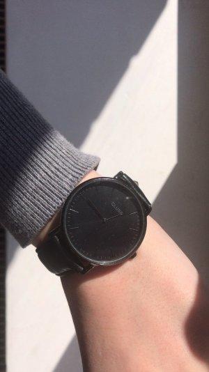 Cluse Reloj con pulsera de cuero negro