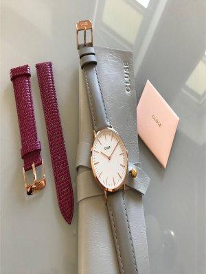 Cluse Reloj con pulsera de cuero color plata-rojo neón