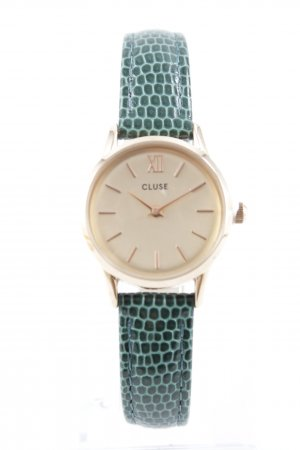 Cluse Uhr mit Lederarmband goldfarben-kadettblau Elegant