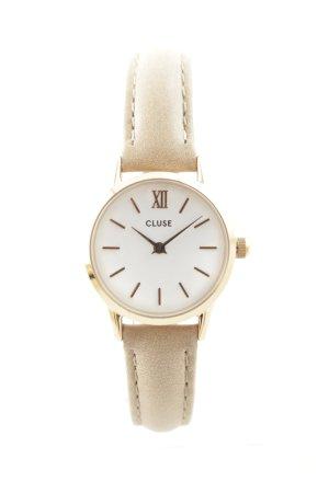 Cluse Horloge met lederen riempje lichtbruin-goud casual uitstraling