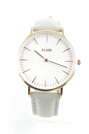 Cluse Montre avec bracelet en cuir gris clair-or rose style simple