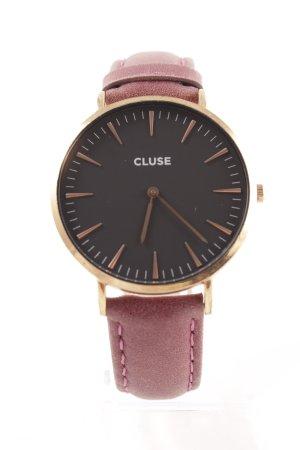 Cluse Uhr mit Lederarmband purpur-roségoldfarben Street-Fashion-Look