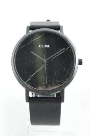 Cluse Horloge met lederen riempje zwart minimalistische stijl