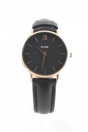Cluse Montre avec bracelet en cuir noir-or rose style simple