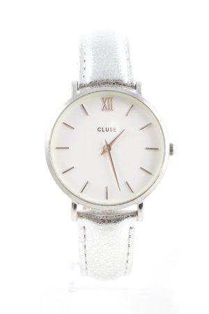 Cluse Uhr mit Lederarmband silberfarben-weiß Schimmer-Optik