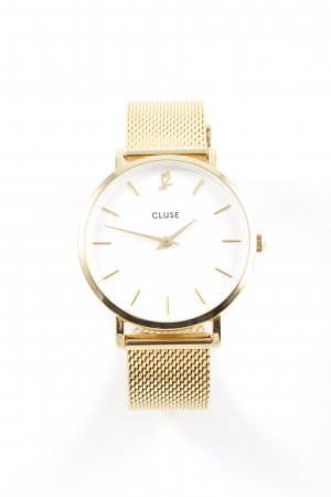Cluse Uhr mit Metallband goldfarben-weiß schlichter Stil