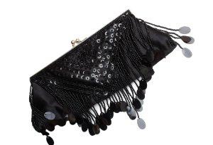 Clutch / Abendtasche mit Pailletten und Schnappverschluss