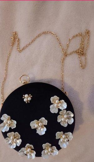 Clutch Abendtasche, schwarz Samt mit exklusivem Blumen Dekor