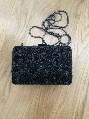 Clutch Abendtasche Schwarz Verziert