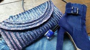 Clutch blau-lila Bast mit Pailletten Tasche Täschchen Glitzer