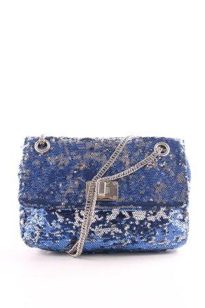 Borsa clutch blu-argento stile stravagante