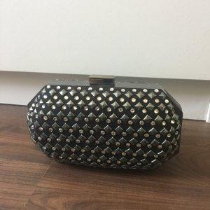 Clutch Box Nieten Strass H&M schwarz Silber
