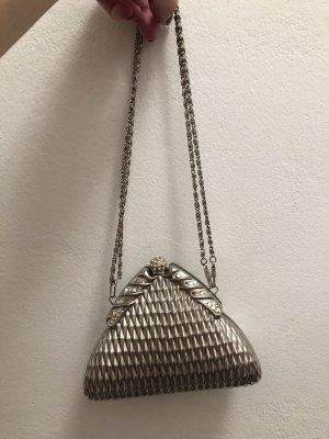 Bolso de mano color plata-gris claro