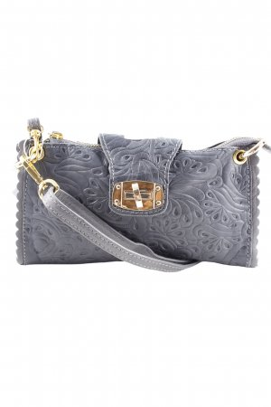Clutch graublau-goldfarben Ornamentenmuster Casual-Look