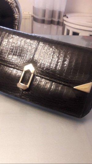Clutch Handtasche edel schwarz Leder Optik VINTAGE