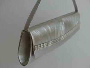 Clutch in Silber mit Glitzer, fast nagelneu
