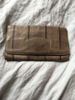 Clutch kleine Handtasche Tasche Leder Look braun Vintage beige