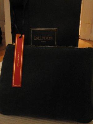 Balmain for H&M Clutch dark green-black leather