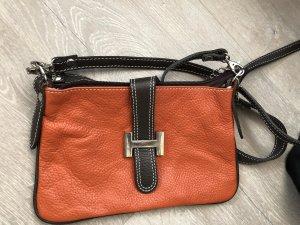 Clutch Leder orange braun
