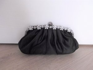 Clutch black-silver-colored polyester