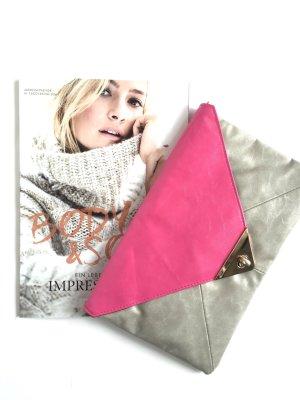 Clutch light grey-pink imitation leather