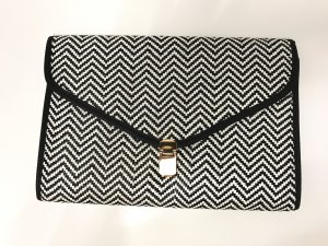 Primark Clutch black-white synthetic material